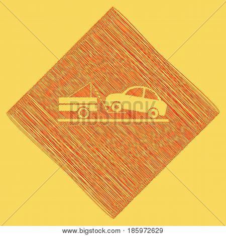 Tow truck sign. Vector. Red scribble icon obtained as a result of subtraction rhomb and path. Royal yellow background.