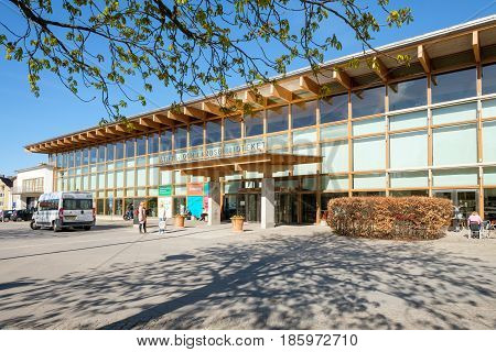 LINKOPING, SWEDEN - MAY 2, 2017: Linkoping main library during springtime in Linkoping. Linkoping is a famous university town in Sweden.