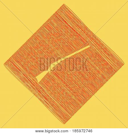 Hunting rifle icon vector illustration. Silhouette gun. Vector. Red scribble icon obtained as a result of subtraction rhomb and path. Royal yellow background.