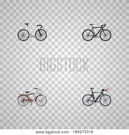Realistic Cyclocross Drive, Road Velocity, Journey Bike And Other Vector Elements. Set Of Sport Realistic Symbols Also Includes Bike, Cyclocross, Track Objects.