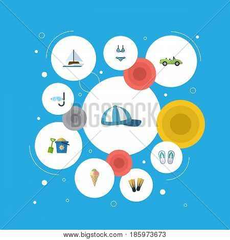 Flat Beachwear, Sorbet, Sailboard And Other Vector Elements. Set Of Beach Flat Symbols Also Includes Coupe, Cabriolet, Flippers Objects.