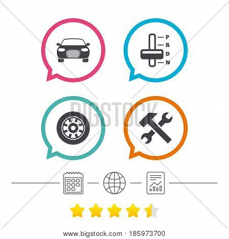 Transport icons. Car tachometer and automatic transmission symbols. Repair service tool with wheel sign. Calendar, internet globe and report linear icons. Star vote ranking. Vector