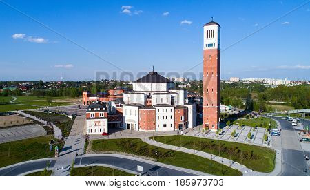 KRAKOW. POLAND - MAY 11, 2017: Sanctuary church information center and museum commemorating activity of Pope John Paul II. Lagiewniki Krakow Poland. Aerial view.