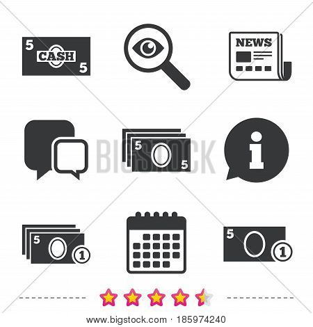 Businessman case icons. Currency with coins sign symbols. Newspaper, information and calendar icons. Investigate magnifier, chat symbol. Vector