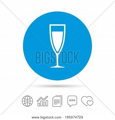 Glass of champagne sign icon. Sparkling wine. Celebration or banquet alcohol drink symbol. Copy files, chat speech bubble and chart web icons. Vector