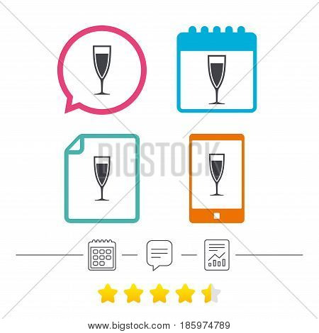 Glass of champagne sign icon. Sparkling wine. Celebration or banquet alcohol drink symbol. Calendar, chat speech bubble and report linear icons. Star vote ranking. Vector