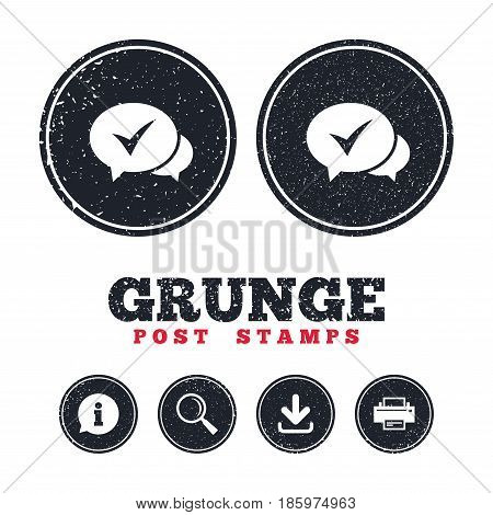 Grunge post stamps. Check sign icon. Yes or Tick symbol. Confirm. Information, download and printer signs. Aged texture web buttons. Vector