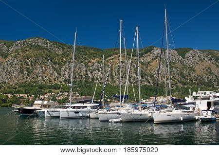Yachts in harbor of town Kotor Montenegro