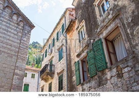 Old houses in town Kotor Kotor Bay Montenegro