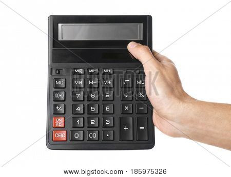 Male hand holding calculator on white background