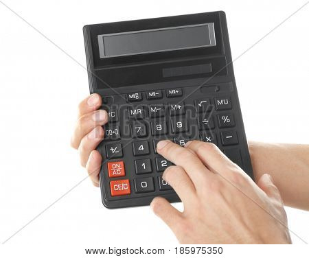 Male hands with calculator on white background