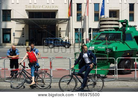 BERLIN - JUNE 19 2013: Police cordon near the Potsdamer Platz and Hotel Ritz-Carlton because of his state visit to Germany by U.S. President Barack Obama