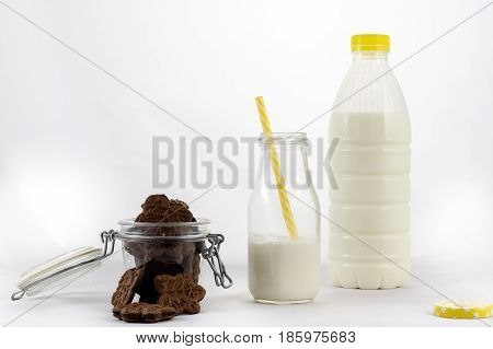 Sweet Tasty Cocoa Biscuits And Strawberry Milk