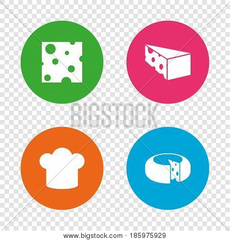 Cheese icons. Round cheese wheel sign. Sliced food with chief hat symbols. Round buttons on transparent background. Vector