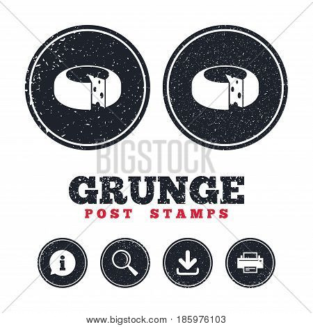 Grunge post stamps. Cheese wheel sign icon. Sliced cheese symbol. Round cheese with holes. Information, download and printer signs. Aged texture web buttons. Vector