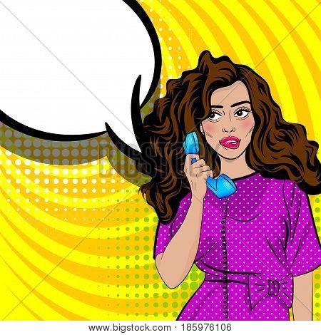 Beautiful sexy lips pin up. Positive shame oops pop art brunette jewish woman talk hand holding retro phone. Comic book halftone background. Vector dot illustration. Speech bubble text advertisement