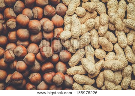 peanuts and hazelnuts on the table background