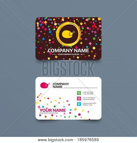 Business card template with confetti pieces. Chicken sign icon. Hen bird meat symbol. Phone, web and location icons. Visiting card  Vector