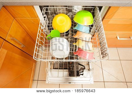 Top view picture of opened dishwashing machine with set of crockery in it's rack