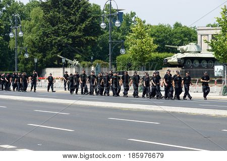 BERLIN - JUNE 19 2013: Police cordon near the Brandenburg gate because of state visit to Germany by U.S. President Barack Obama