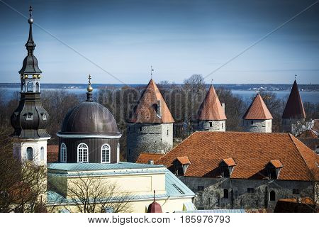 View across Tallinn from high vantage point
