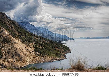 View of the Adriatic Sea coast and Omis and Makarska Riviera in Croatia
