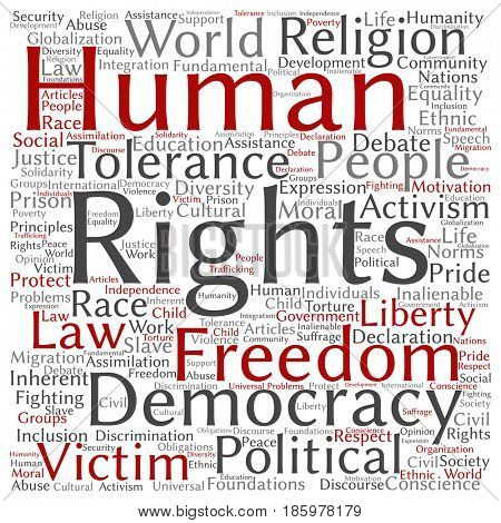 Concept or conceptual human rights political freedom, democracy square word cloud isolated background. Collage of humanity world tolerance, law principles, people justice or discrimination text