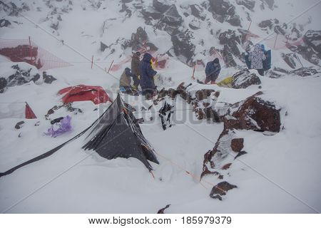 Mount Elbrus, Russia: Panoramic view of Elbrus mountain from station Shelter 11