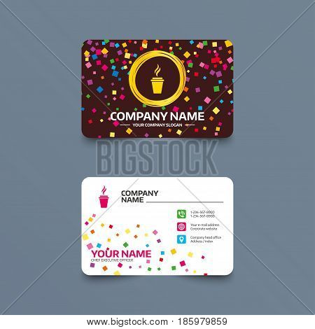 Business card template with confetti pieces. Coffee glass sign icon. Hot coffee button. Hot tea drink with steam. Takeaway. Phone, web and location icons. Visiting card  Vector