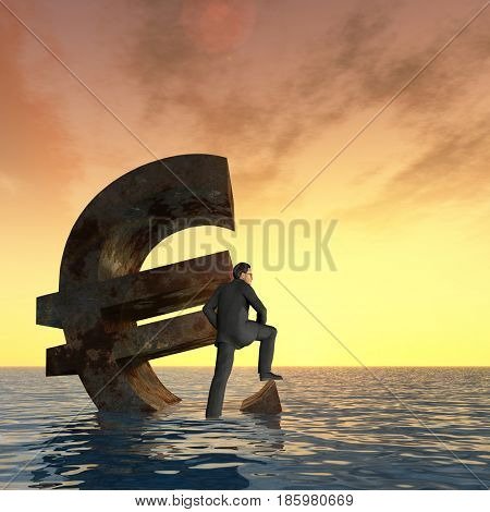 Conceptual 3D illustration currency euro symbol sinking in sea, ocean water with business man, sunset concept to European crisis