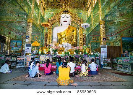 MIANDALAY,MYANMAR - MARC 6, 2017: Burmese people pray in Soon U Ponya Shin Pagoda  at Sagaing.  Mandalay, on March 6, 2017, Myanmar. (Burma)