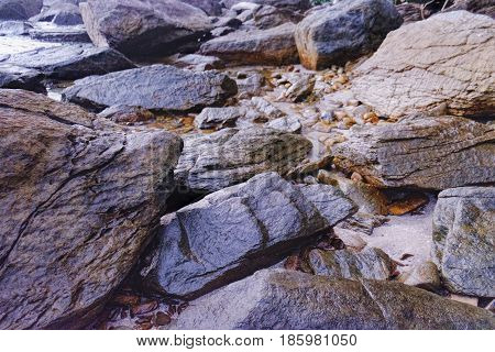 Rocky shore texture background. Wet Stones Rocks Sand on sunset time. Selective focus