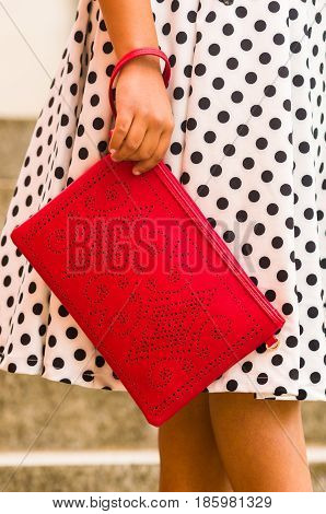 Glamour girl in polka dots dress and Fashionable beautiful big red handbag
