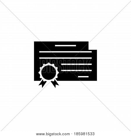 Certificate and diploma solid icon, education and school element, graduate vector graphics, a filled pattern on a white background, eps 10.