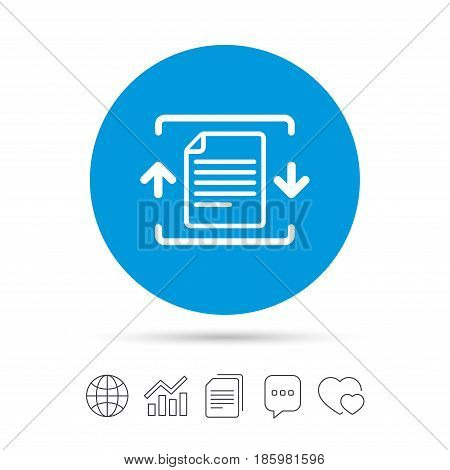 Archive file sign icon. Compressed zipped file symbol. Arrows. Copy files, chat speech bubble and chart web icons. Vector