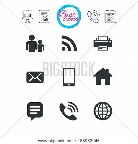 Presentation, report and calendar signs. Contact, mail icons. Communication signs. E-mail, chat message and phone call symbols. Classic simple flat web icons. Vector