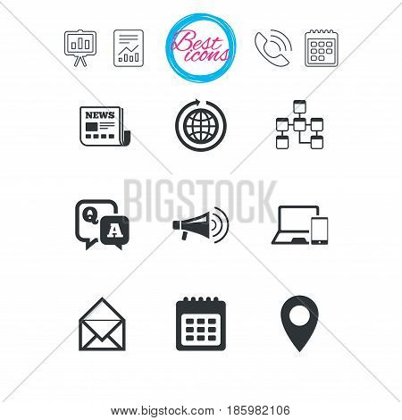Presentation, report and calendar signs. Communication icons. News, chat messages and calendar signs. E-mail, question and answer symbols. Classic simple flat web icons. Vector