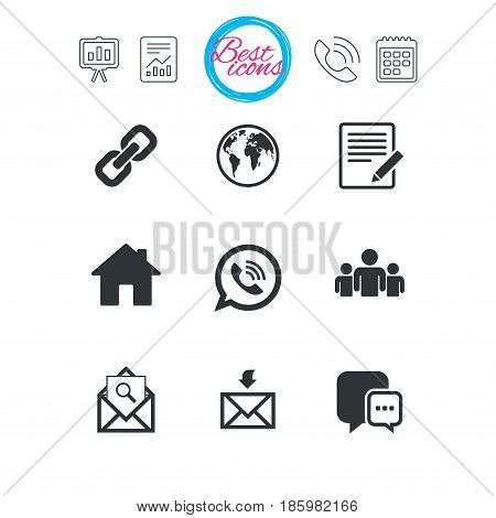 Presentation, report and calendar signs. Communication icons. Contact, mail signs. E-mail, call phone and group symbols. Classic simple flat web icons. Vector