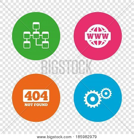 Website database icon. Internet globe and gear signs. 404 page not found symbol. Under construction. Round buttons on transparent background. Vector