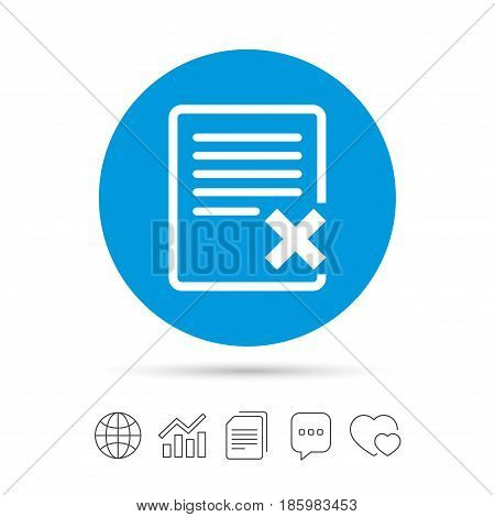 Delete file sign icon. Remove document symbol. Copy files, chat speech bubble and chart web icons. Vector