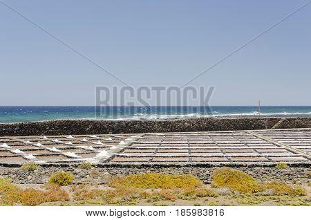 Traditional Methods Of Sea Salt Production In Salinas Del Carmen, Fuerteventura. Production From Oce