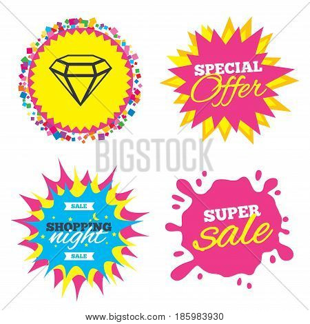 Sale splash banner, special offer star. Diamond sign icon. Jewelry symbol. Gem stone. Shopping night star label. Vector