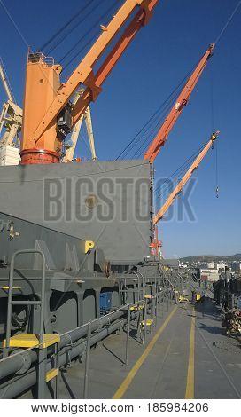 Industrial Landscape Of Developed Seaport Infrastructure. Port C