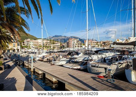 Tivat, Montenegro - August, 2016: Porto Montenegro is a full service marina located in the Bay of Kotor in Montenegro