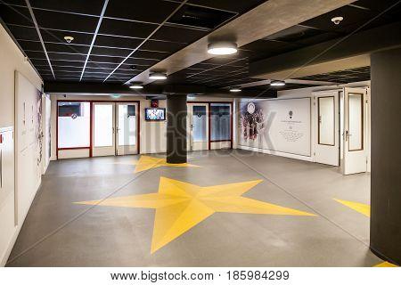 Amsterdam, Netherlands - April, 2017: Interior view of Amsterdam Ajax Football Arena