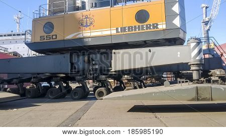 Self-propelled Port Crane. Mobile Platform For Moving The Lifting Mechanism.
