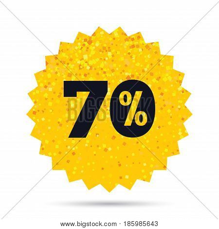 Gold glitter web button. 70 percent discount sign icon. Sale symbol. Special offer label. Rich glamour star design. Vector