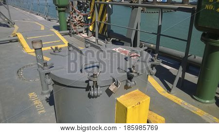Technological Hatch On The Deck Of The Ship. Service Inputs.