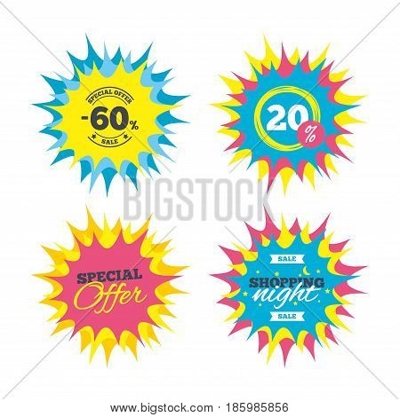 Shopping offers, special offer banners. 60 percent discount sign icon. Sale symbol. Special offer label. Discount star label. Vector