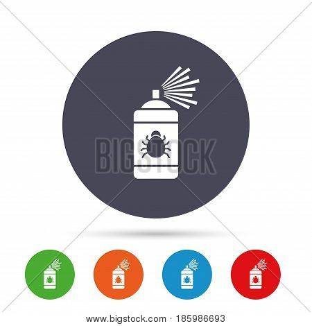 Bug disinfection sign icon. Fumigation symbol. Bug sprayer. Round colourful buttons with flat icons. Vector